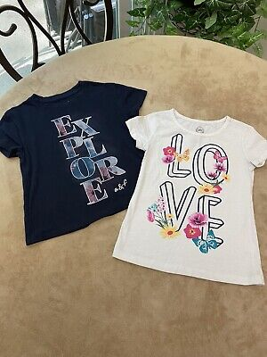 Lot Of 2 Girls Small Graphic T-Shirts Abercrombie Kids Wonder Nation
