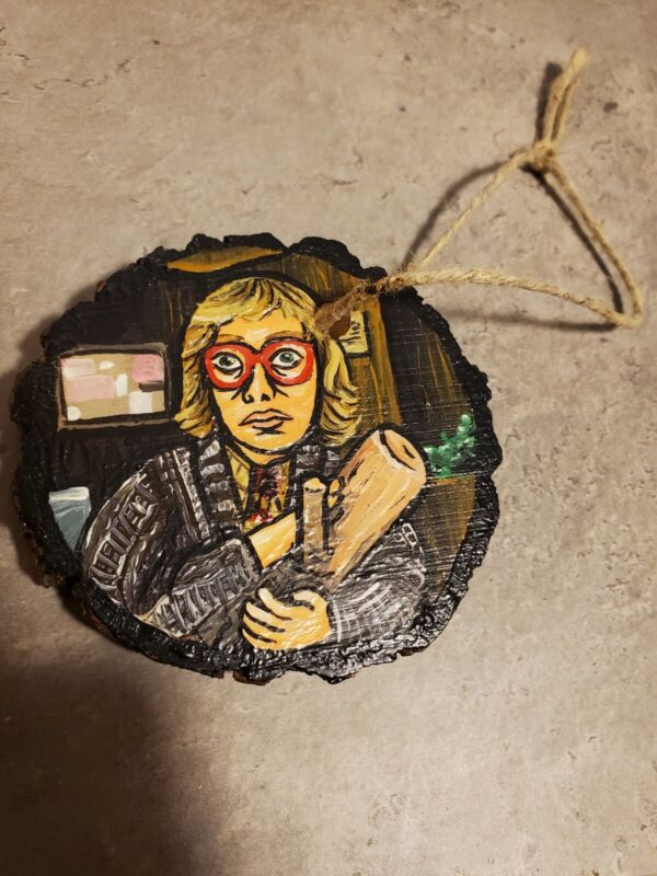 Twin Peaks Log Lady Hand Painted ONE OF A KIND Real Wood Hanging Decoration