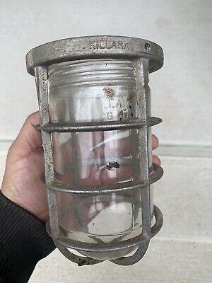 Vintage Killark Explosion Proof Light Glass And Cage