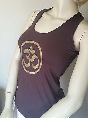 Clothing Om (ॐ) Brown Yoga Gym Top Bali Meditation Gold Exercise Lycra Large