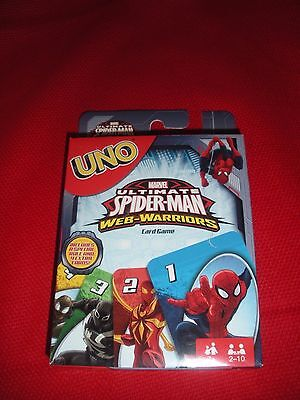 Uno Marvel Ultimate Spiderman Web Warriors Card Game Age 7  2 10 Players New