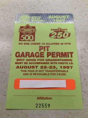 1997 Nascar Goody s 500 / Food City 250 Pit / Garage Weekend Racing Pass  - $15.00