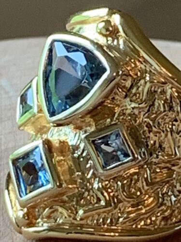 Dark London Blue Stone Gold Tone Sterling Silver Princess/Trillion Stone Ring - $23.99