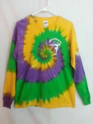 Island Gymnastic Team Tie Dye Tee-Shirt Top Long Sleeve Mardi Gras Magic 2006 M (Mardi Gras Tie Dye)
