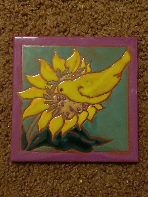 "Yellow Bird on Sunflower Signed Art Tile Elaine Cain 6"" X 6"""