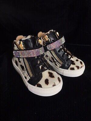 Giuseppe JUNIOR Cow Print Hi-top Sneakers.