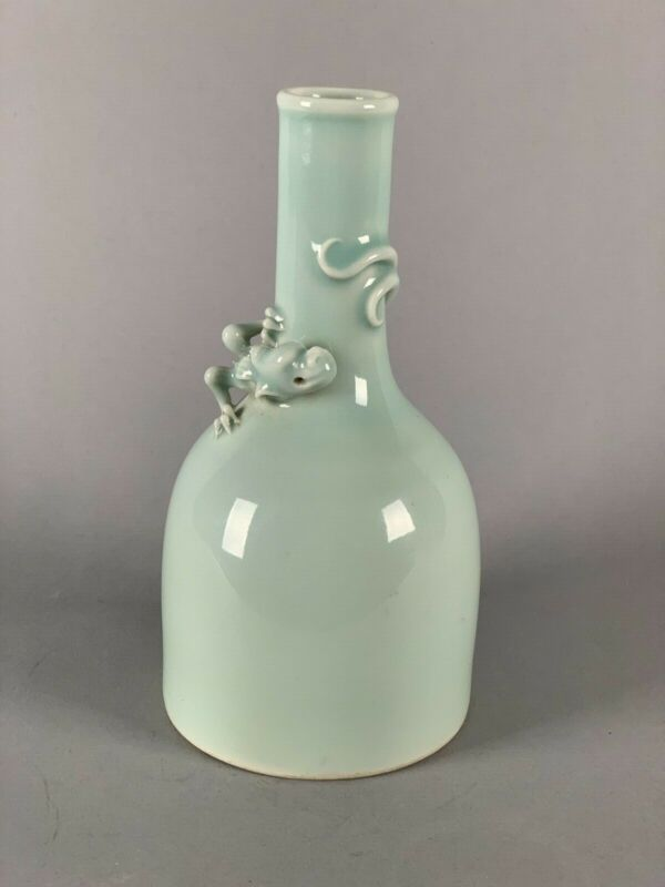 Chinese Green Glaze Vase with Dragon around the neck