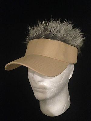 FLAIR HAIR HATS WITH HAIR KHAKI VISOR GREY HAIR QUALITY SURF SKATE GOLF - Golf Visor With Hair