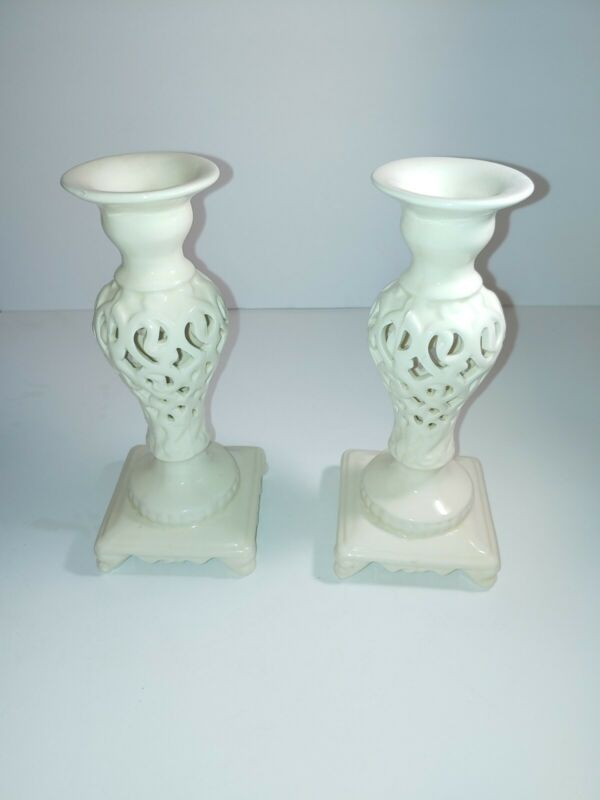 Porcelain candle holders with lattice detail