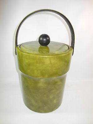 BIG 1970s Vinyl Clad Ice Bucket w Wood Knob Lid](Big Ice Bucket)