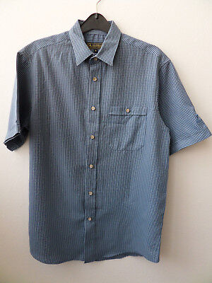Mens PG FIELD Short Sleeved Blue Striped Shirt Small (S)
