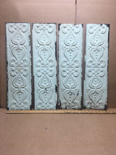 """4 pc 24"""" x 6.5"""" Fancy Antique Ceiling Tin Vintage Reclaimed Salvage Art Craft"""