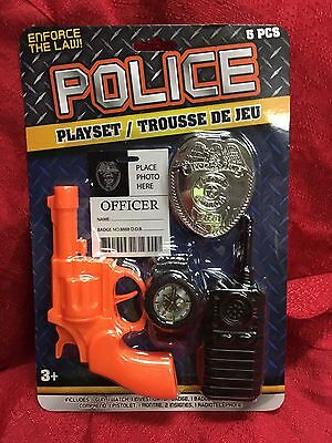 Kids Toy Police Officer Play Set Policeman Halloween Costume 5 Pc Gun Badge