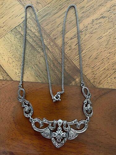 Vintage Filigree Marcasite Necklace 925 sterling Silver