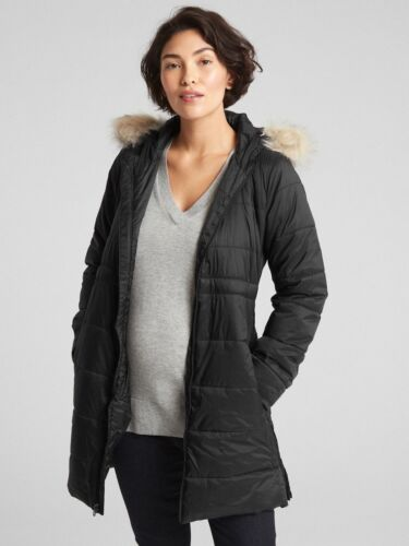 GAP $198 Maternity Longline Hooded Puffer Jacket Coat, sz XL Extra Large #383401