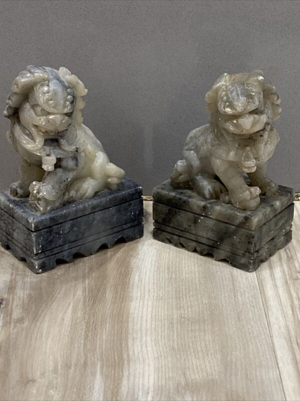 Vintage Foo Dogs Soapstone Hand Carved Pair Mismatched Fu Dogs Carving