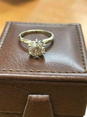 2.25ct round cut yellow gold diamond engagement ring K Color VVS2 Enhanced FInal