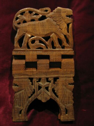 Vintage Wood Hand Carved Folding Bible Book Stand Lions Vgd!