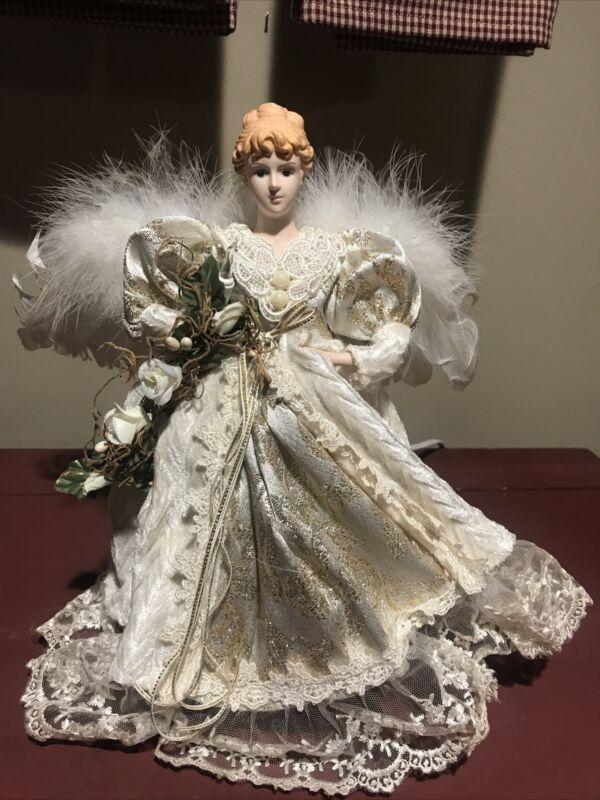 "Kurt S Adler Vintage Angel Figurine, 12"" White and Silver~Christmas Decor"