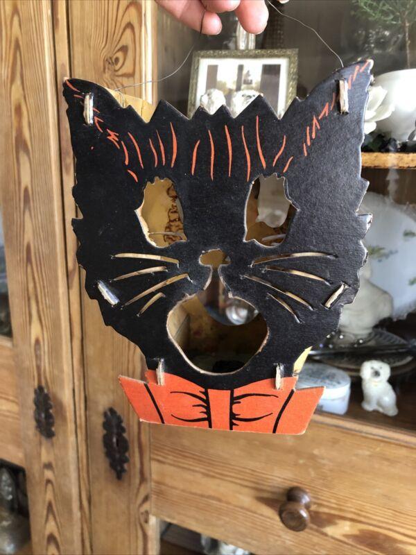 Vintage Halloween Die Cut Cardboard Double Sided Black Cat Lantern As Is