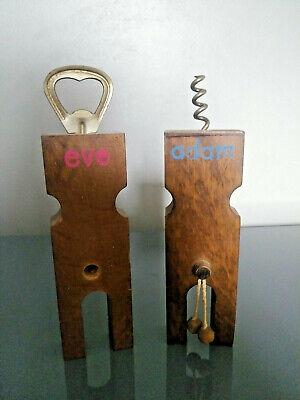 Vintage Wooden Adam & Eve Bottle Opener Corkscrew Bar Set 1970's Adult Novelty](Adam And Eve Novelties)