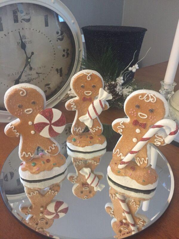 """(3) Piece 7.5"""" Candy Gingerbread Men Set"""