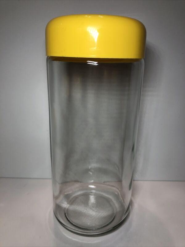 "Vintage Heller Designs Inc Glass 12"" Storage Jars Canister Yellow Lids EUC"