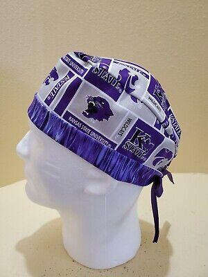 Kansas State University Men's Skull/Chemo Surgical Scrub Hat/Cap Handmade State University Scrub Cap