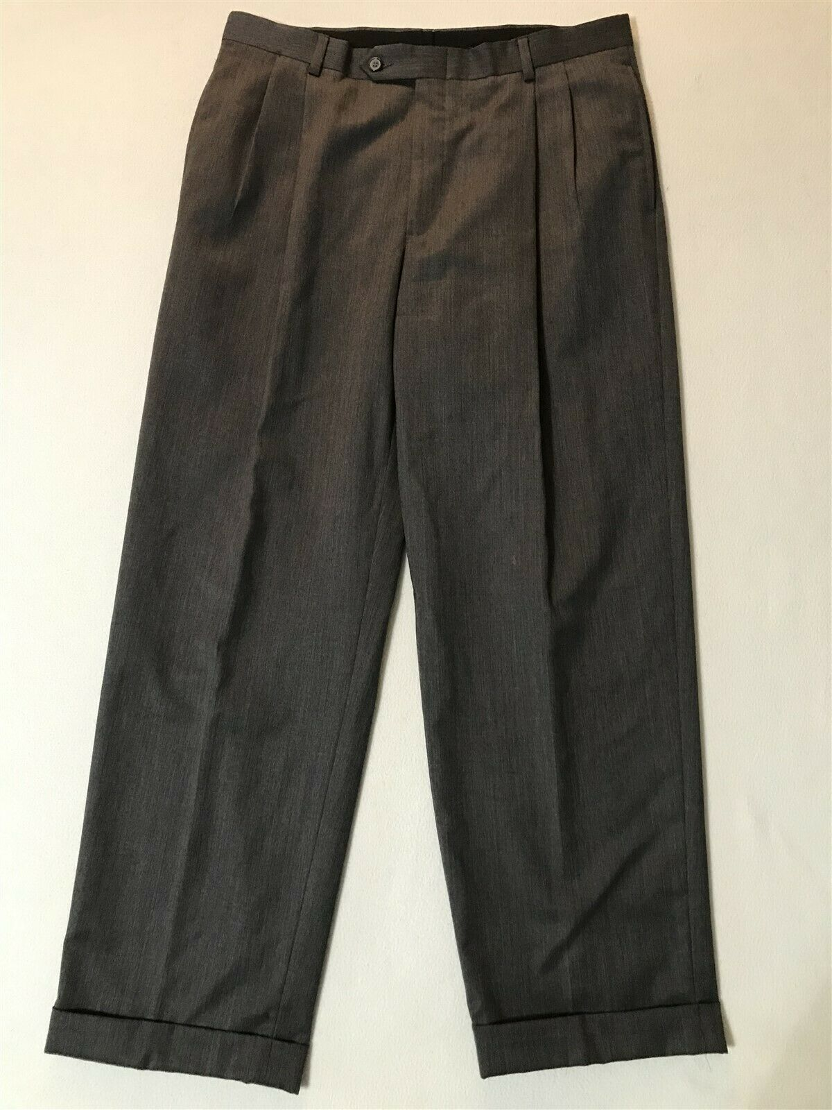 Austin Reed 34 X 30 Super 100 S Wool Pleated Cuffed Pants Ebay