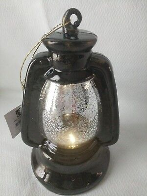DEI Woodland River Black Retro Lantern Ornament Lights Up Battery Operated New (Battery Operated Black Lights)