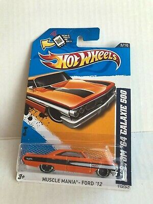HOT WHEELS 2012 MUSCLE MANIA - FORD '12 - 3/10 - '64 GALAXIE 500 ORANGE D9