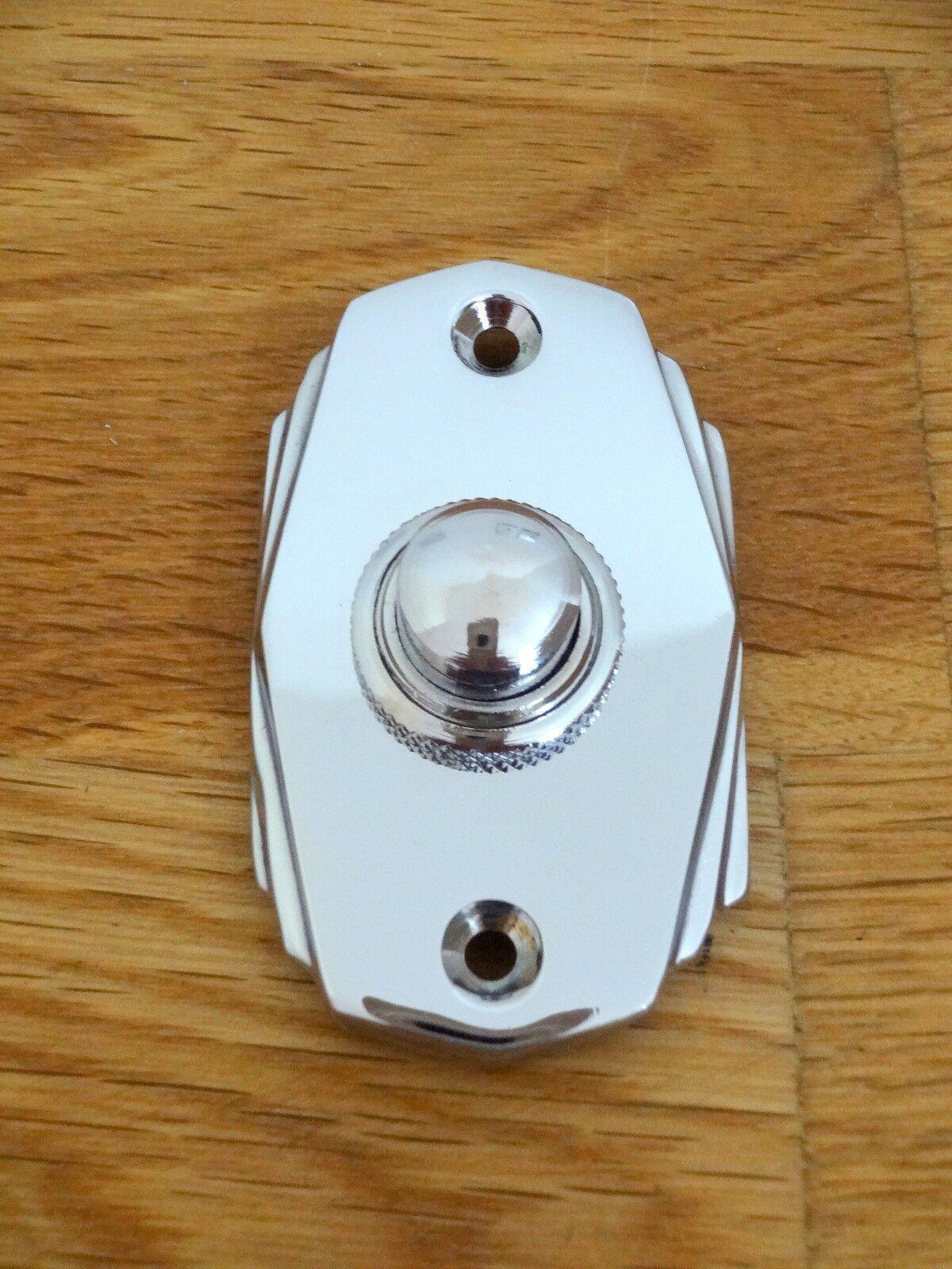 CHROME ART DECO STYLE DOOR BELL PUSH DOORBELL KNOCKER