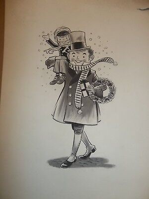 original BOB CRATCHIT TINY TIM ART The Miners National Bank of Wilkes-Barre PA