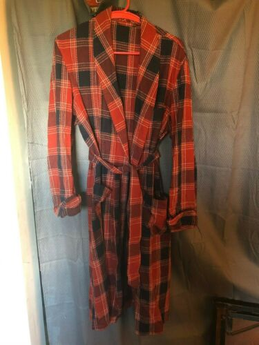 Vintage Handmade Red Plaid Wool Robe w/Belt