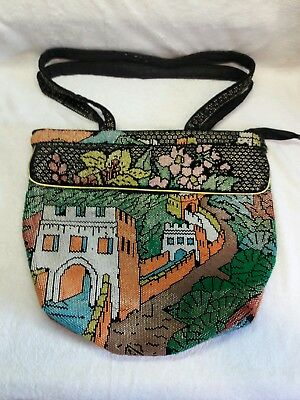 VINTAGE BEADED PURSE AND STRAPS CROSS BODY WALL OF CHINA DESIGN BIG, USED - Wall Of Crosses