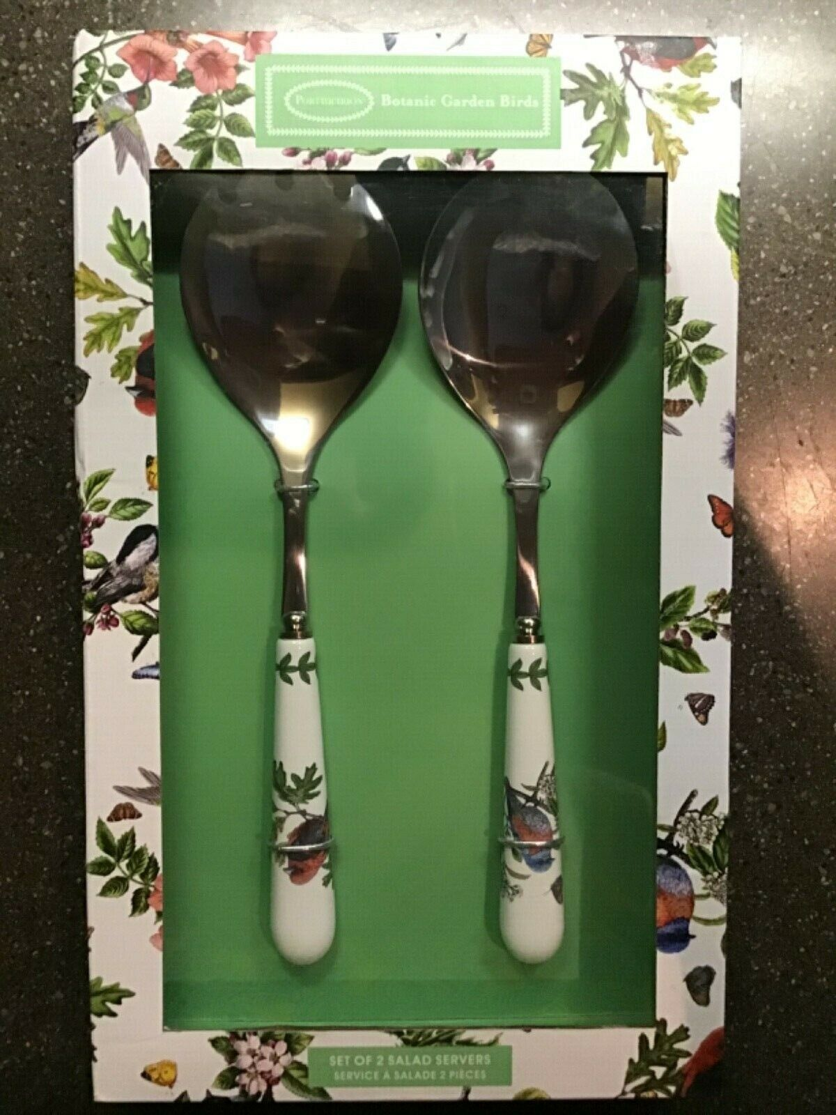 Portmeirion BOTANIC GARDEN BIRDS Salad Servers SET OF 2 Spoo