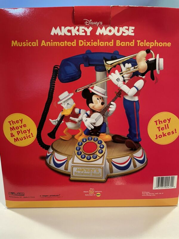 Vintage DISNEY Mickey Mouse TELEPHONE Musical Animated Dixieland Band NEW IN BOX