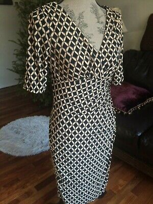 LAUREN RALPH LAUREN size 8 Geometric Brown V NECK 3/4 SLEEVE CAREER DRESS