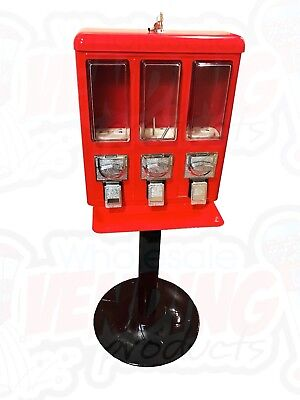 Metal Triple Vending Gumball Candy Machine .25 Vend - Brand New