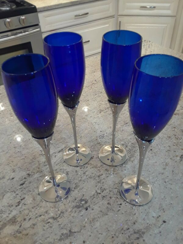Vintage International Silver Company Plated Cobalt Blue Champagne Flute Glasses