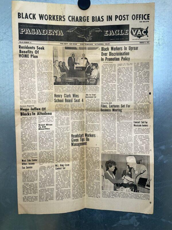 VERY RARE VINTAGE 1971 PASADENA EAGLE AFRICAN AMERICAN NEWSPAPER