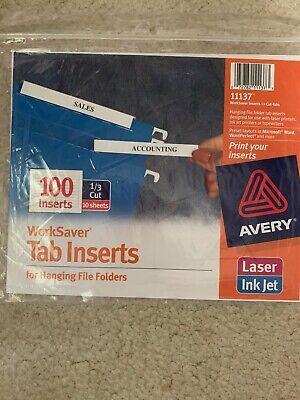 Avery Laserinkjet Hanging File Folder Inserts 13 Cut White 230pack 11137