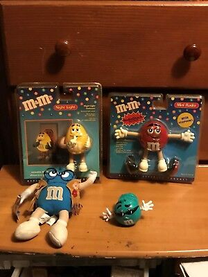 Teal M&m (M&M's Collectible Lot A (Nightlight, Red Radio, Hippie Plush, & a Teal Swarmee))