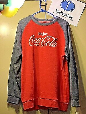 Red Classic Logo Pullover (NWT Coca-Cola Enjoy Coke Classic Logo Pullover Sweatshirt Red Charcoal Size XL)