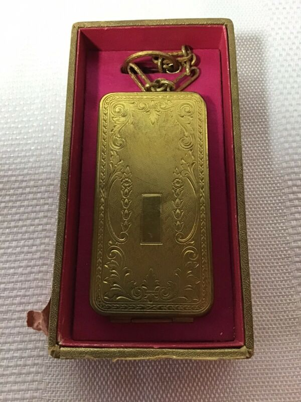 Antique ART DECO WOMAN RICHARD HUDNUT GOLD TONE COMPACT w/Finger Ring VINTAGE