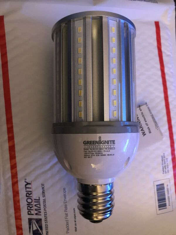 NEW- GREENIGNITE 27W LED Corn Cob Lamp 175W Equivalent HPS/MH E39 5000K 120-277V