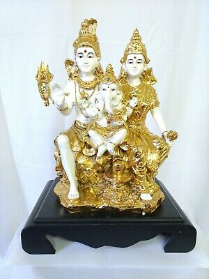 Polyresin Base - Polyresin Shiva Family statue Height 14 inches wooden base USA Seller