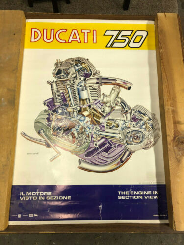 """Ducati Factory 750 Engine Poster with cross section view. 19.5""""x27.5"""""""