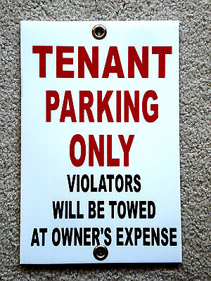 Tenant Parking Only  8x12 Plastic Coroplast Sign Wgrommets