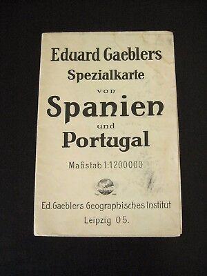 alte Landkarte Eduard Gaeblers Spezialkarte von Spanien und Portugal um 1930